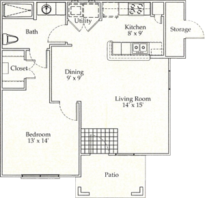 A - One Bedroom / One Bath - 726 Sq. Ft.*