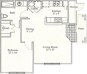 B - One Bedroom / One Bath - 746 Sq. Ft.*