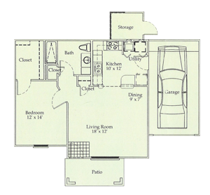C - One Bedroom / One Bath / Garage - 725 Sq. Ft.*