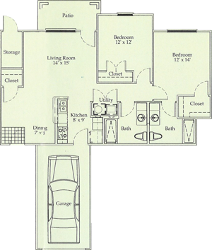 D - Two Bedroom / Two Bath / Garage - 985 Sq. Ft.*